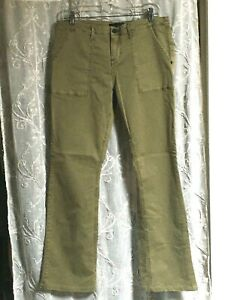 Para Mujer Santuario Verde Militar Pantalones Cargo Boot Cut De Algodon Talla 31 Ebay