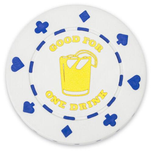 """White /""""Good for 1 Drink/"""" Bar Token Poker Chips 25-pack"""