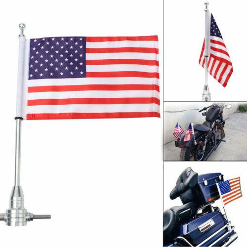 1P Motorcycle American USA Flag Pole Luggage Rack Side Mount Universal Gift