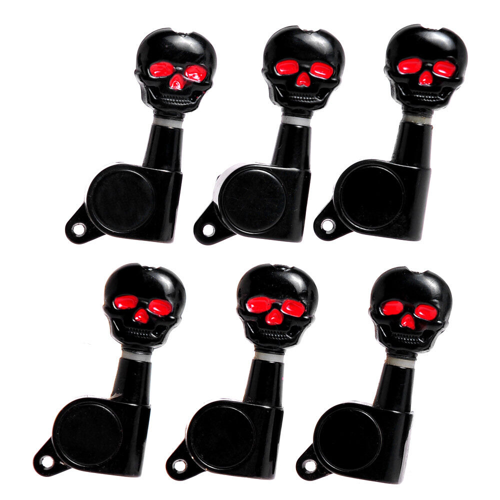 skull inline electric guitar tuning pegs machine heads tuners keys peg black 6l 634458287524 ebay. Black Bedroom Furniture Sets. Home Design Ideas