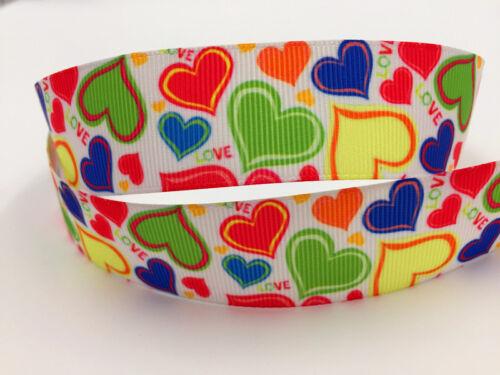 5 Yard 1/'/' 25MM Colorful LOVE Printed Grosgrain Ribbon Hair Bow Sewing Ribbon