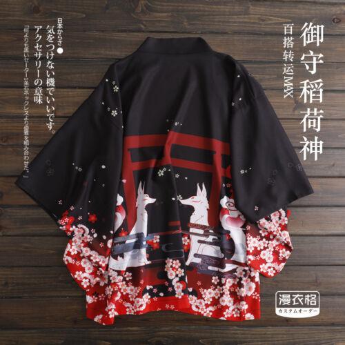 Fushimi Inari Taisha Fox Black Japanese Kimono Haori Yukata Summer Coat Jacket