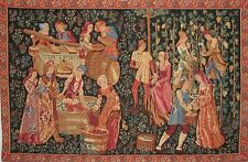 """THE VINTAGE 28"""" X 18"""" LINED BELGIAN LINED TAPESTRY WALL HANGING WITH ROD SLEEVE"""