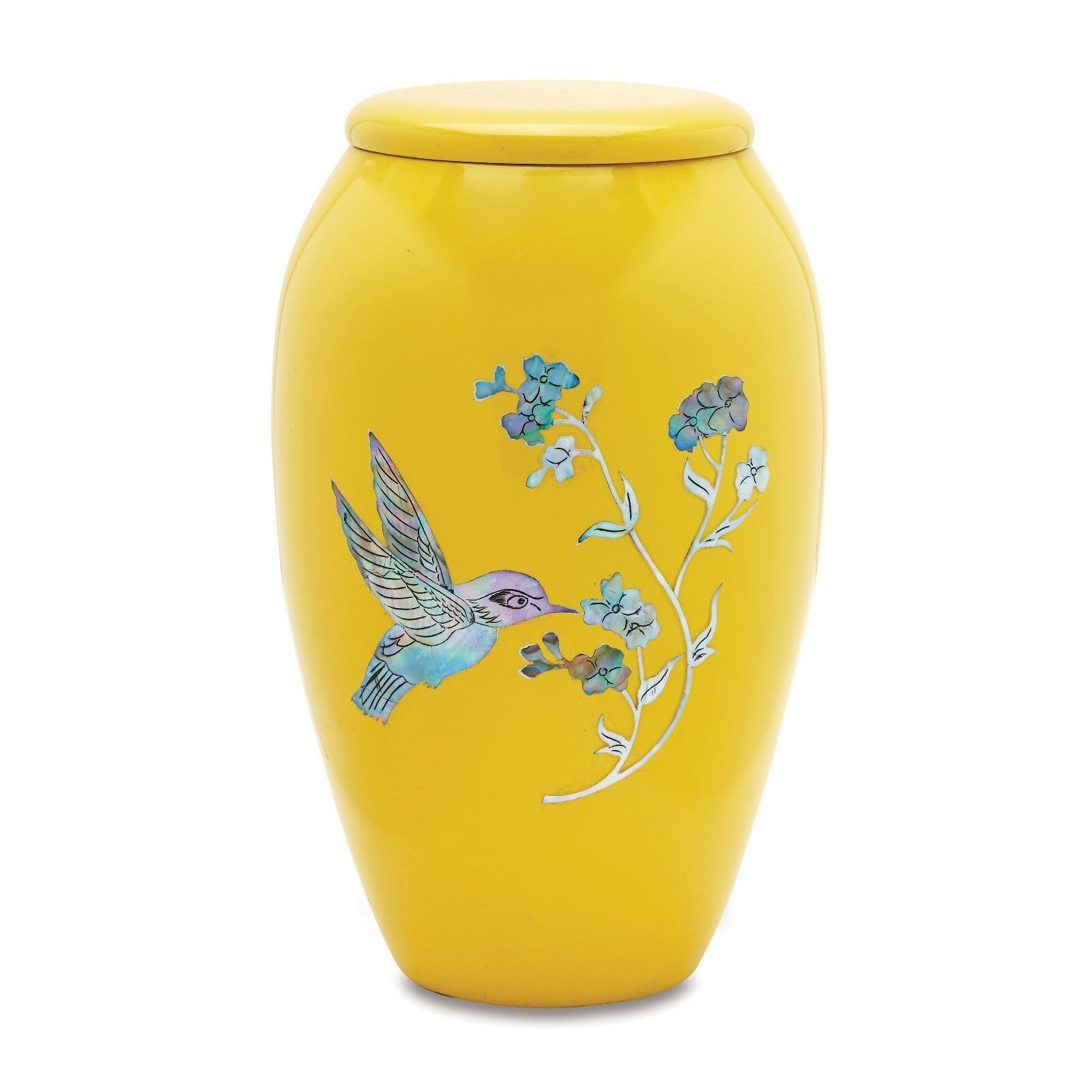 Amarillo Colibrí Adulto urna de la cremación