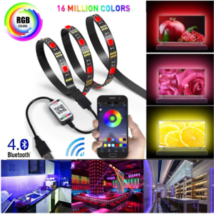Bluetooth-APP-Control-RGB-LED-Strip-Light-USB-Powered-Car-Lights-Sync-with-music