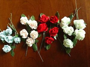 Vtg-Millinery-Flower-Rose-5pc-Lot-1-1-8-034-Cotton-Pick-Red-White-Blue-or-Pink-UA
