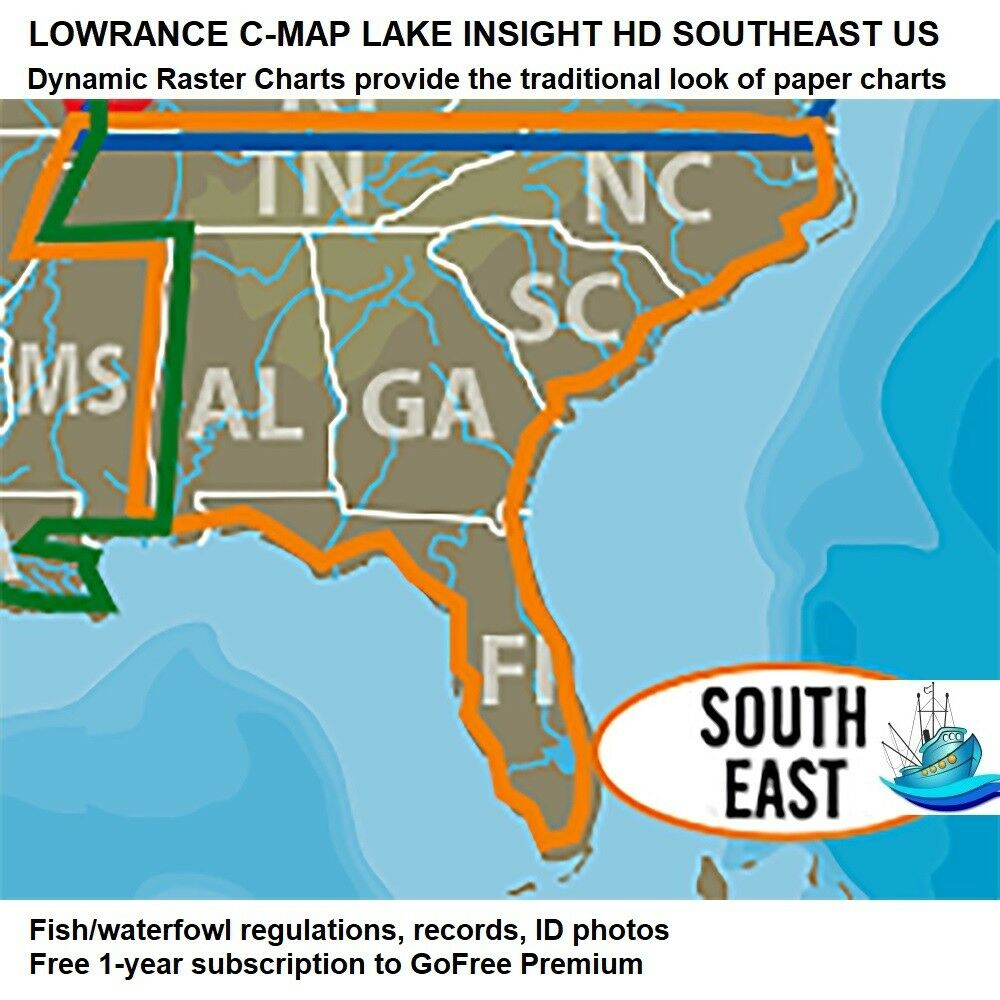 LOWRANCE C-MAP LAKE  INSIGHT HD SOUTHEAST US Traditional Look of Paper Charts  free shipping worldwide