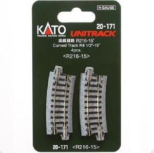 Kato-20-171-Rail-Courbe-Curve-Track-R216mm-15-4pcs-N
