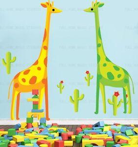 Giraffes cactus Wall Stickers Nursery//Children//Kids Room Animal Art Decal Decor