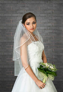 New-Womens-2-Tier-Ivory-White-Wedding-Bridal-Elbow-Satin-Edge-Veil-Length-32-034