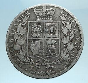 1881-UK-Great-Britain-United-Kingdom-QUEEN-VICTORIA-1-2-Crown-Silver-Coin-i78233