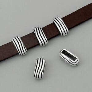 10-pcs-Antique-Silver-Stripe-Slider-Spacer-For-10-2mm-Flat-Leather-Cord-Findings
