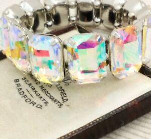 Vintage-Style-Aurora-Borealis-Rainbow-Glass-Stone-Elasticated-Bracelet