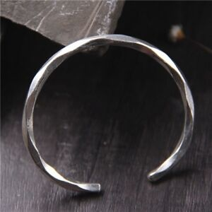 2eac97eee586 Image is loading Solid-925-Sterling-Silver-Open-Mens-Torque-Bangle-