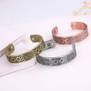 Viking-Celtic-Cross-Trinity-Knot-Totem-Magnetic-Barcelet-Cuff-Bangle-for-Men