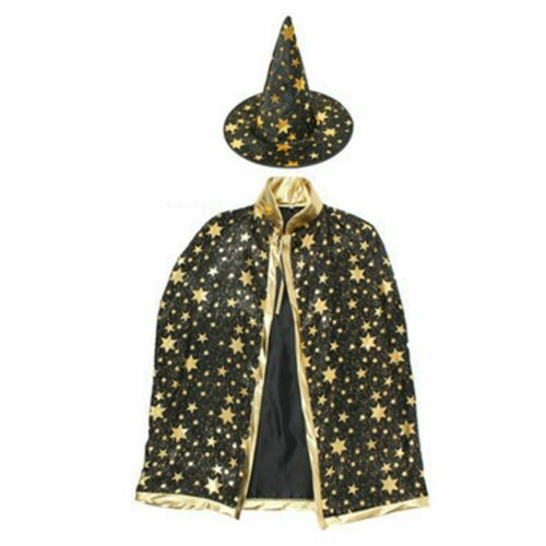 Witch Halloween Costume For Kids Wizard Cloak Cape With Hat Girls Boys Costume