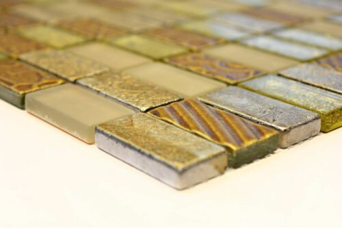 Mosaik Fliese Transluzent gold Rechteck Glasmosaik Crystal 83-CRS4/_f10 Matten