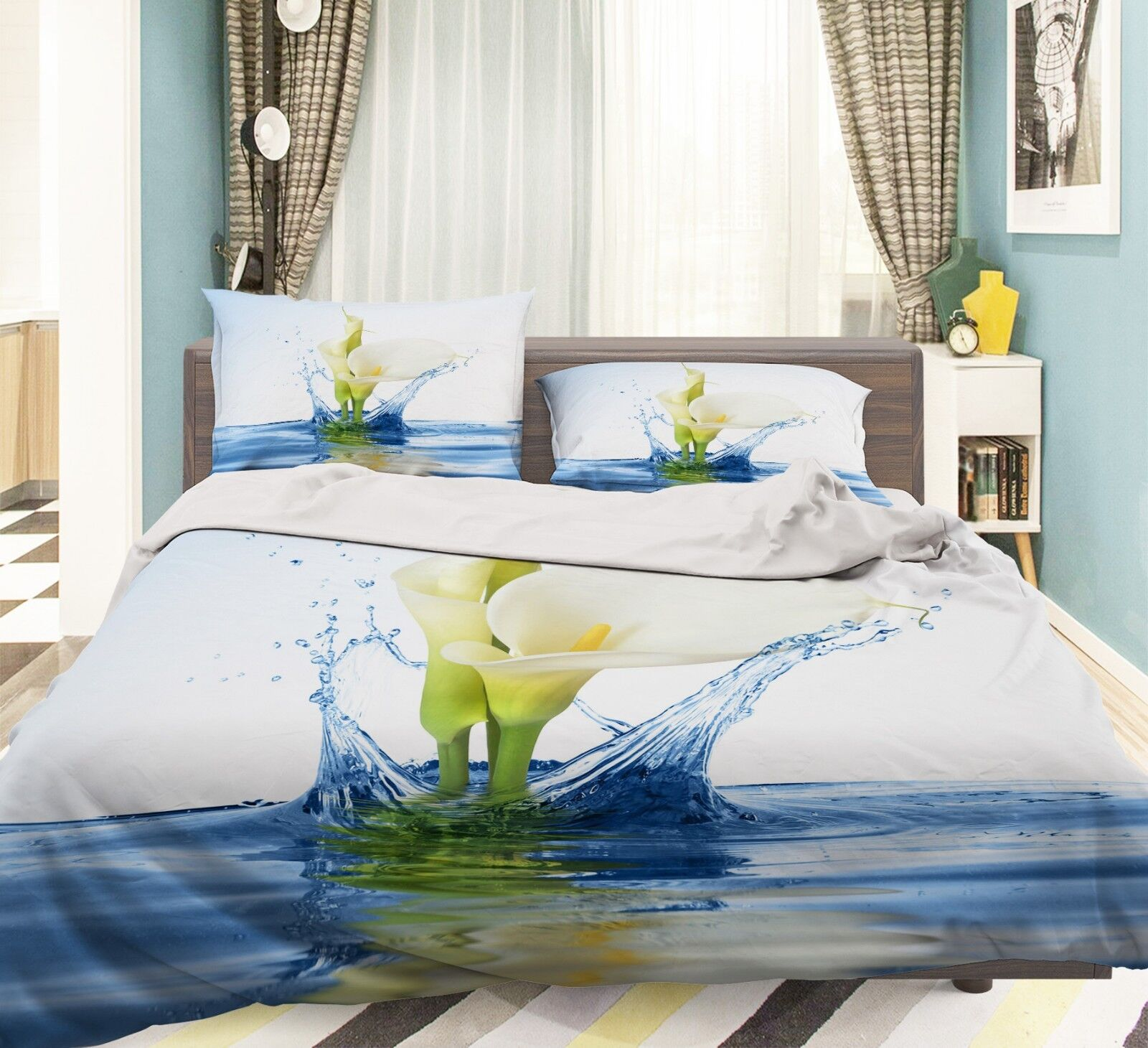 3D Lily Lake 576 Bed Pillowcases Quilt Duvet Cover Set Single King UK Summer