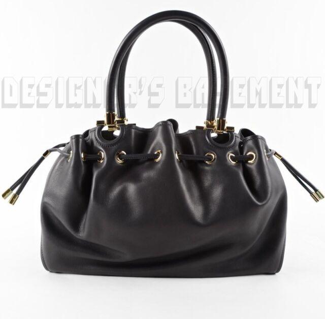 SALVATORE FERRAGAMO black leather SONIA Slouchy Drawstring BUCKET bag NWT   1890! 4bde36c606