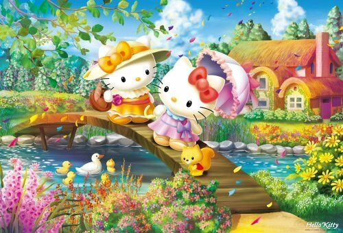 Nuovo 1000 piece jigsaw puzzle Hello Kitty flowers bloom cottage F/S