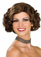 Short Curly Brown Wig Flapper 20s 1920s Rockabilly Curls Adult Costume Womens