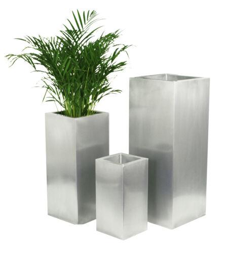 Silberer Pflanztopf aus Verzinktem Stahl Blumenkübel Metall Pflanztopf Garten