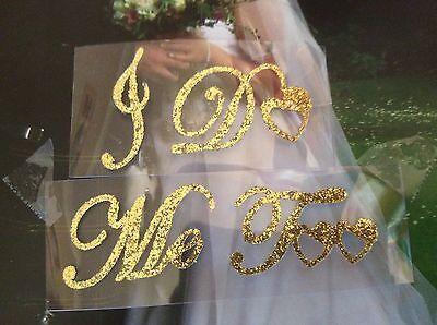 I Do + ME TOO gold glitter Hochzeit Schuh Aufkleber Glitzer leicht verwendbar