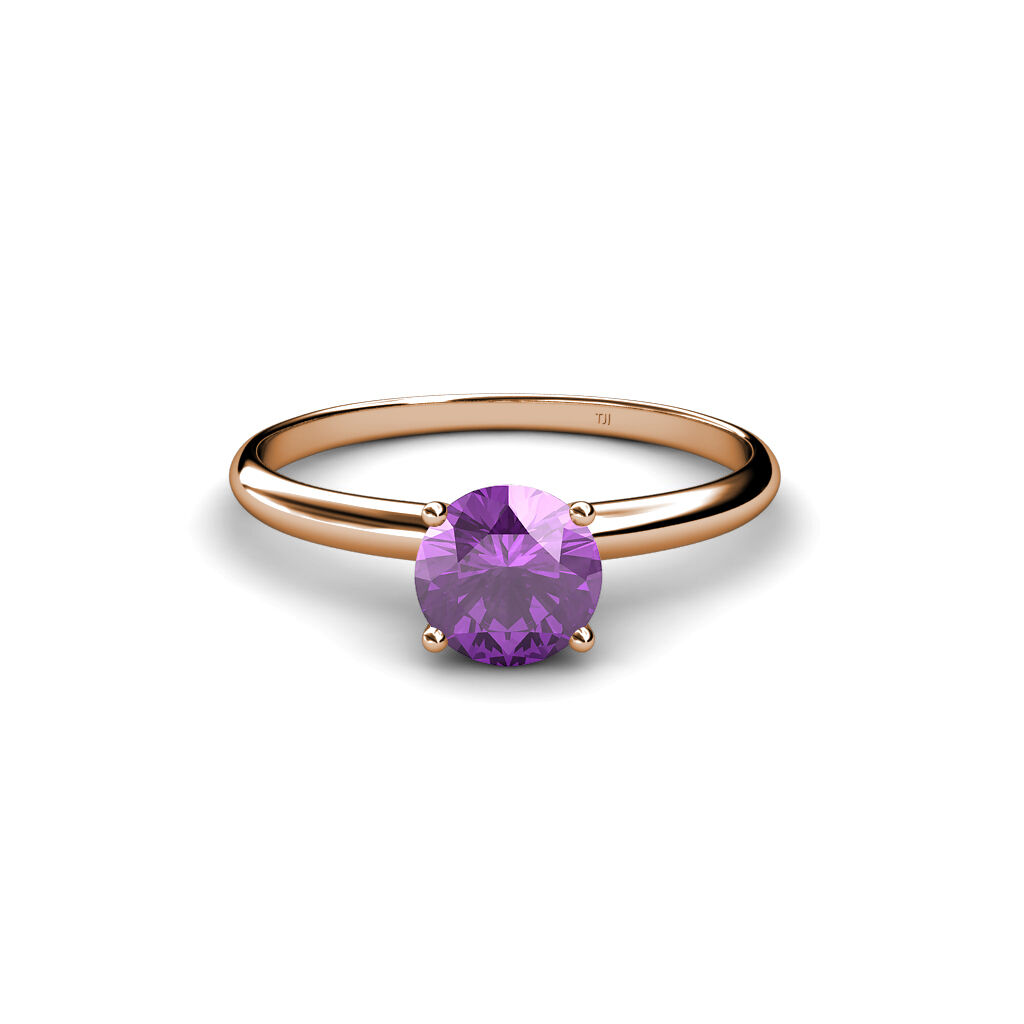 Amethyst 5 mm Solitaire Ring 0.40 ct in 14K pink gold JP 23665