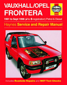 haynes vauxhall frontera workshop manual ebay rh ebay co uk vauxhall frontera b workshop manual holden frontera workshop manual pdf