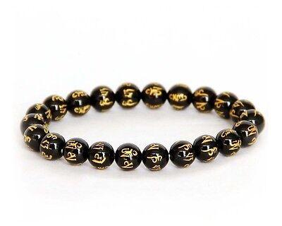 Black Agate Gem Buddha Word Tibet Buddhist Prayer Beads Bracelet