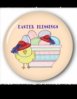 6 Easter Blessings Red Hat Chick 3 Buttons Gift Favor For Ladies Of Society