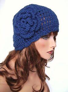 DENIM BLUE FLOWER BEANIE CAP HAT BAGGY HAND CROCHET BERET SKULL CAP CLOCHE TAM