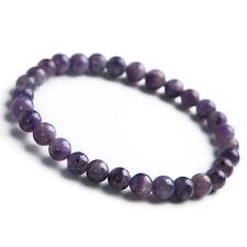 Genuine Natural Purple Charoite Gemstone Woman Beads Bracelet 6mm AAA