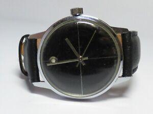 Vintage-Men-039-s-Wind-Up-Watch-34mm-Case-Black-Dial-Runs