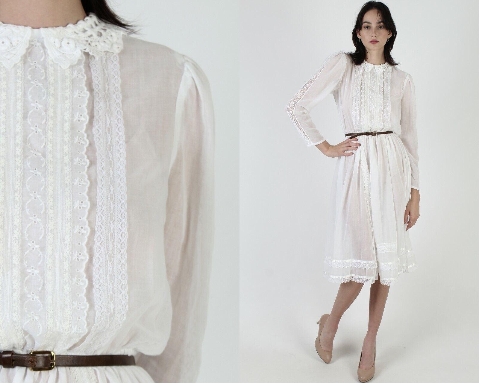 Vintage 70s Gunne Sax Dress Sheer White Crochet L… - image 1