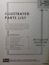 Mcculloch Chain Saw 1 81 Parts Catalog Manual 2 Cycle Gasoline Chainsaw Aug 1960