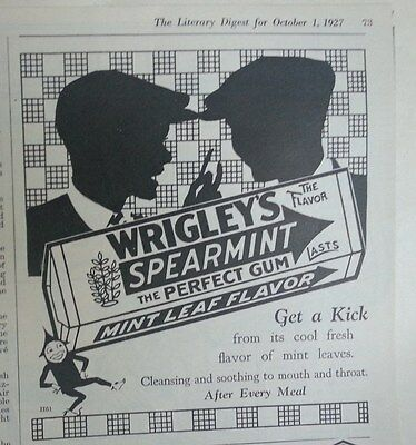 Collectibles Advertising Open-Minded 1927 Wrigleys Spearmint Perfect Chewing Gum Get A Kick Silhouettet Ad Providing Amenities For The People; Making Life Easier For The Population