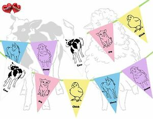 Farmyard-Farm-Animals-Themed-Multicoloured-Bunting-Banner-15-flags-Kids-Party