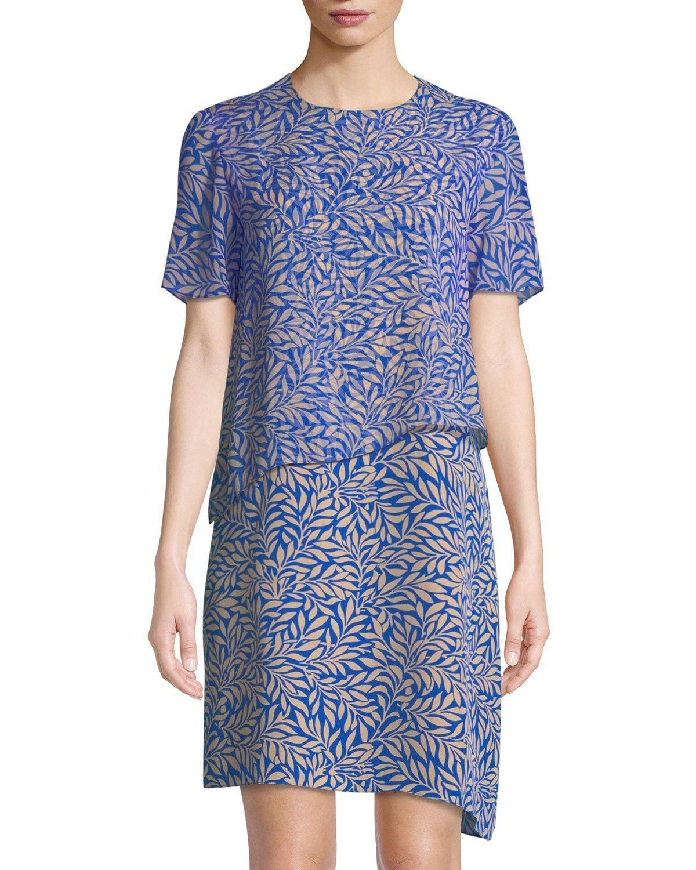 NWT Diane von Furstenberg Two-Tierot Silk Palm Dress Größe 4