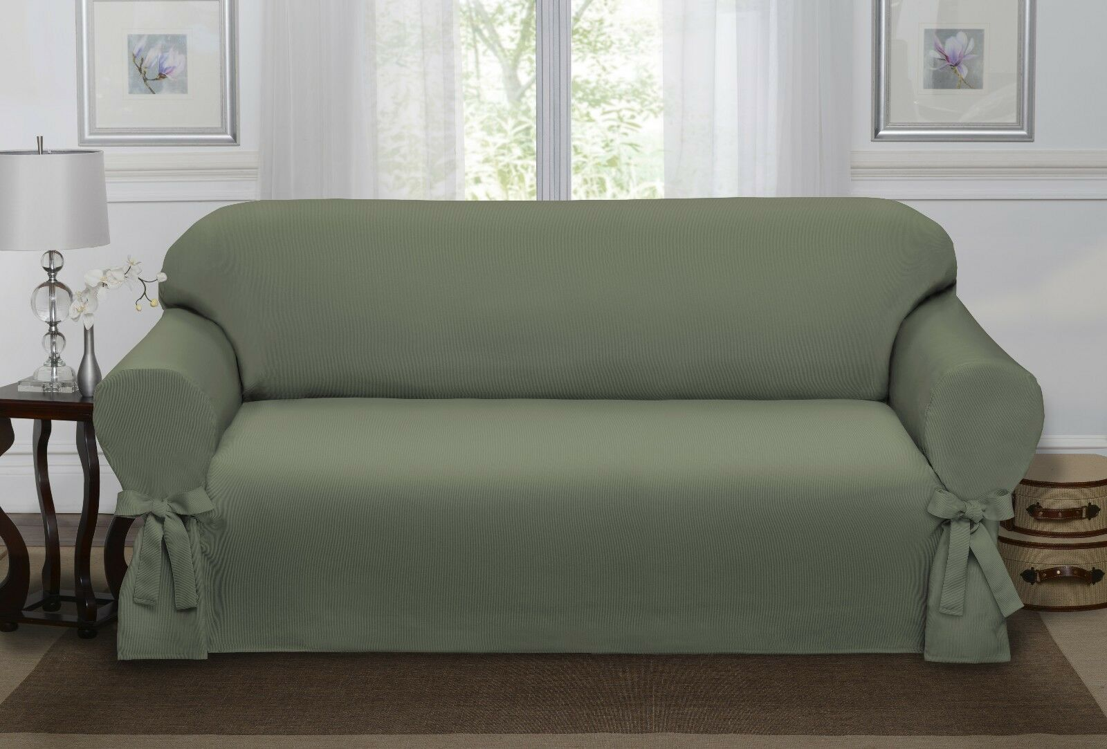 Sage green loden lucerne sofa slipcover couch cover sofa chair 4 colors ebay Cover for loveseat