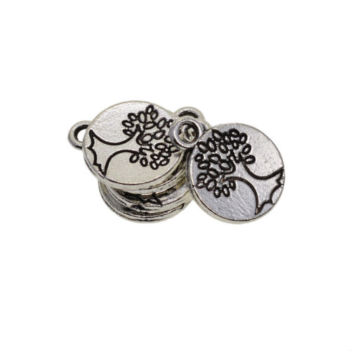 Antique Silver Lucky Pendants Jewelry Crafts DIY 50pc Tree of Life Charms