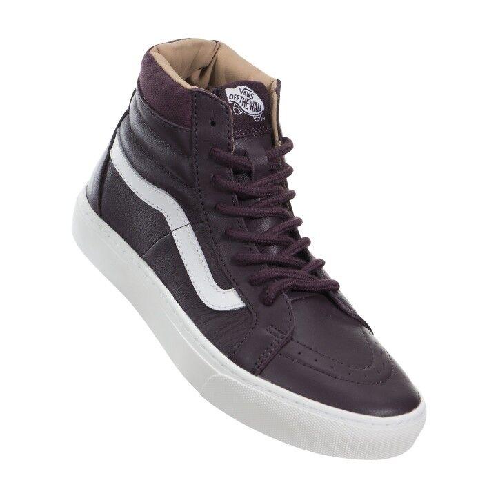 premium selection 5684e 067ea Vans SK8 Hi Taza De Hierro De Zapatos Cuero Marrón blancoo Zapatos De De  Mujer 7.5 ...