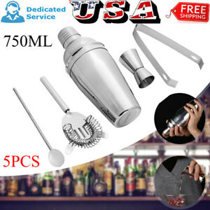 5Pcs Stainless Steel Cocktail Shaker Maker Mixer Bar Drinks Gift Bartender Sets