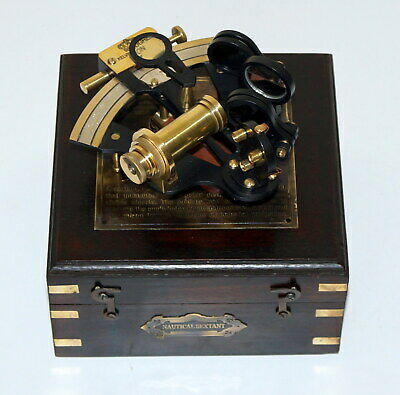 Brass Pocket Sextant Nautical Marine Vintage Wooden Box Bronze  Kelvin /& Hughes
