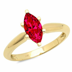 1 ct Marquise Simulated Ruby Solid 18k Yellow Gold Wedding Promise Bridal...