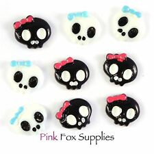 9 SKULL CABOCHON CHARMS FLATBACK JEWELLERY MAKING CRAFT SCRAPBOOK HOBBY GOTHIC