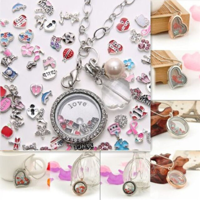 NEW Living Memory Floating Charm Glass Love Locket Pendant Necklace Charm Chain