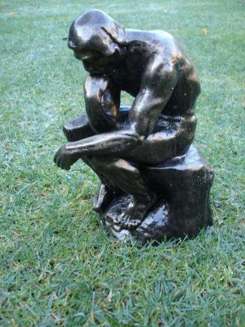 Statue en fonte le penseur de RODIN patinée bronze ...