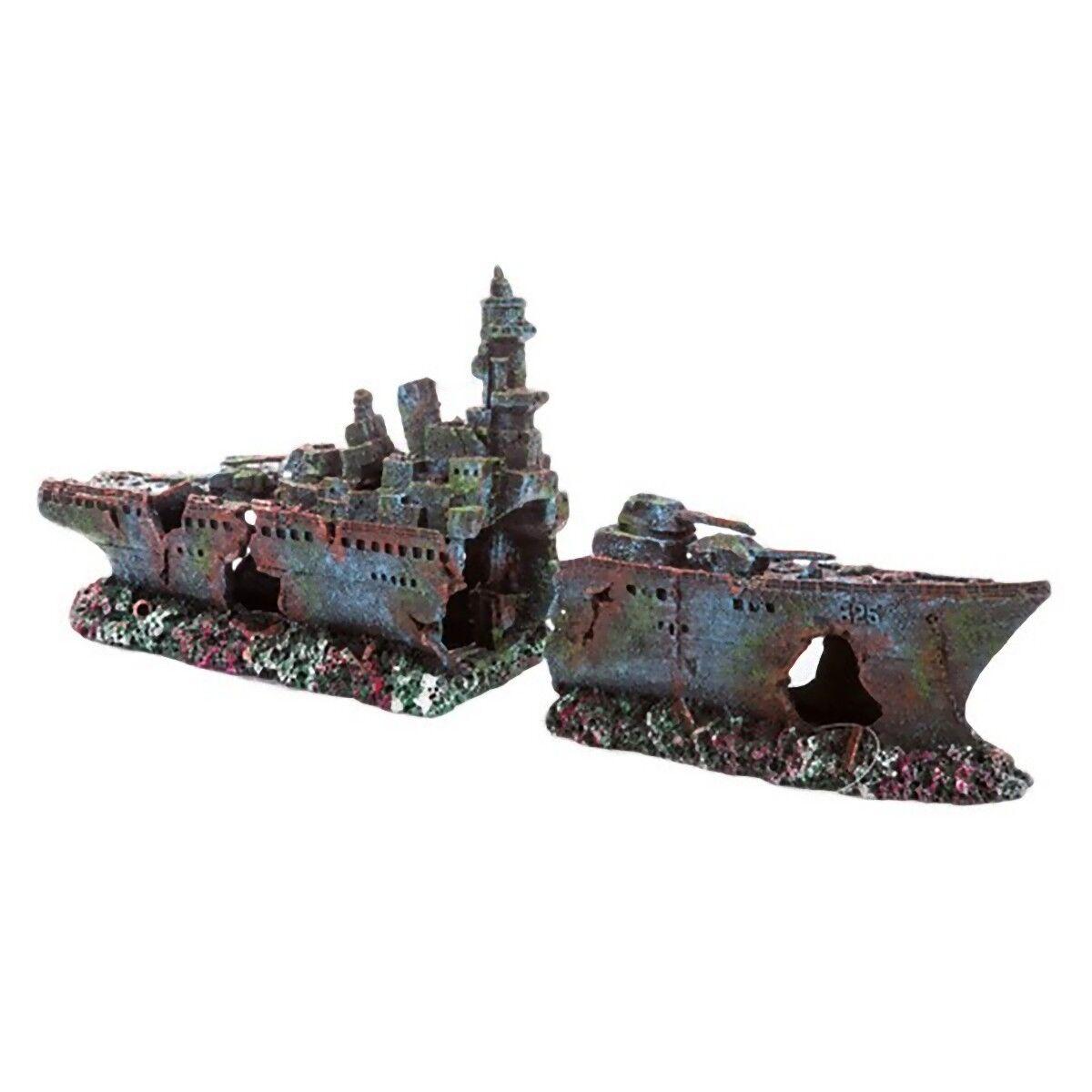 GRANDE FREGATA RELITTO Vasca dei Pesci Acquario Barca Ornamento naufragio Decorazione MS966
