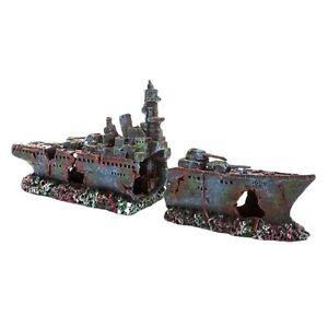 Large frigate wreck fish tank aquarium boat ornament for Fish tank shipwreck